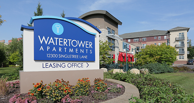 The Watertower Apartments complex at 12300 Singletree Lane in Eden Prairie was KBS Realty Advisors' only Minnesota property before it sold it on Sept. 12. The new owner, FPA Multifamily, now has three properties in Eden Prairie. (Staff photo: Bill Klotz)