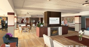 A $20.7 million renovation of the Care Center at Cerenity Marian skilled-nursing and assisted living facility, at 200 Earl St. in St. Paul, is designed to create a more homelike environment. The 1960s building started as a hospital. (Submitted rendering: Pope Architects)
