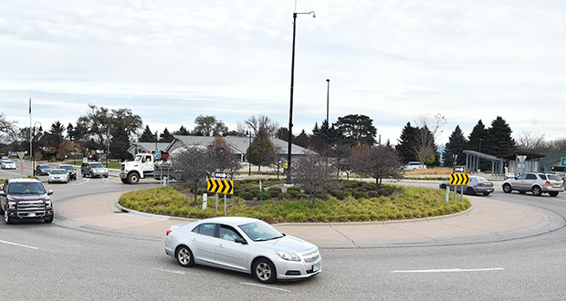 Before this Richfield roundabout was built in 2008 at Portland Avenue and 66th Street, the intersection was a magnet for bad crashes, according to the city. Since the roundabout was built, only two crashes resulted in injuries. (Photo: John Autey/Special to Finance & Commerce)
