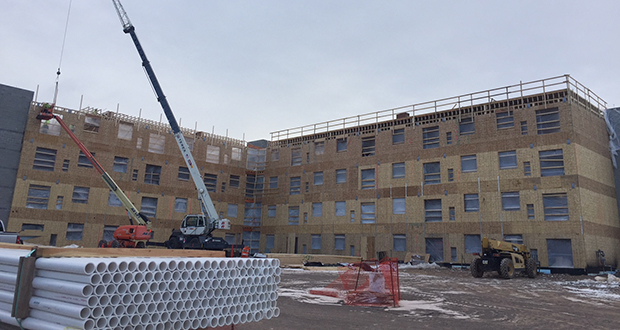 The 72-unit District Flats apartment project at 1306 Maple Grove Road in Duluth targets renters with incomes between $22,000 and $50,000, a niche meant to serve workers in the area's large health care and aviation industries. (Submitted photo)