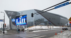 Final preparations for the Super Bowl are wrapping up in and around U.S. Bank Stadium in downtown Minneapolis. Some event-related improvements will remain after the game, according to the Minnesota Sports Facilities Authority. (Photo: Craig Lassig/Special to Finance & Commerce)