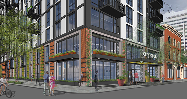 The new design for the City Club apartment project at 1000-1016 Marquette Ave. S. in downtown Minneapolis increases the number of apartments to 307 and reduces the height to 16 floors. (Submitted image: BKV)