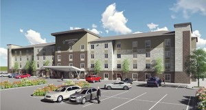 Rockville, Maryland-based WoodSpring Hotels plans to build this 122-room WoodSpring Suites extended-stay hotel between Weir Drive and I-494, south of Tamarack Road, in Woodbury. (Submitted rendering: RSP Architects via City of Woodbury)