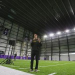 Chad Lundeen, vice president of operations and facilities for the Minnesota Vikings, show's off the team's new indoor practice facility (Staff photo: Bill Klotz)