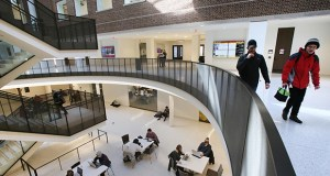The $92.5 million renovation of Tate Hall added this four-story atrium with skylights. The atrium provides an accessible new entry and brings natural light into the building. (Staff photo: Bill Klotz)
