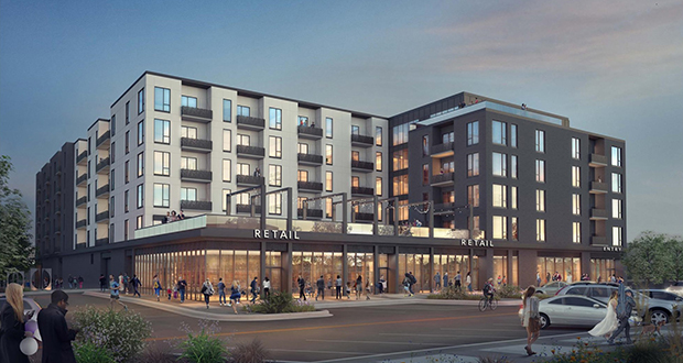 Construction began Wednesday on a 154-unit, mixed-use development at 401 First Ave. SW in downtown Rochester, Minnesota. The site was a surface parking lot. (Submitted image: Opus Development Co.)
