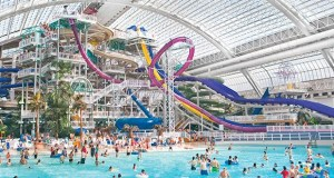 Triple Fives's West Edmonton Mall in Edmonton, Alberta, has a 215,000-square-foot water park that features slides, rides, and a large wave pool. Triple Five, owner of Mall of America, wants the city of Bloomington to finance a similar water park east of the megamall. (Submitted photo: Triple Five)