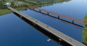 Black River Falls, Wisconsin-based Lunda Construction is the apparent low bidder to construct this new planned Baudette/Rainy River International Bridge over the Rainy River between Baudette, Minnesota, and Rainy River, Ontario. (Submitted rendering: MnDOT)