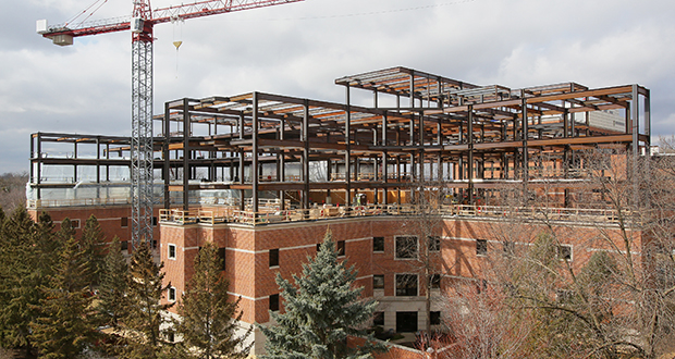 Work is underway at a building addition at the Mayo Clinic St. Marys Hospital campus in Rochester. Construction industry leaders say contractors are keeping a close eye on rising prices for steel and other construction materials, and in particular how recent steel and aluminum tariffs announced by President Donald Trump might drive up the cost of new construction. (Staff photo: Bill Klotz)