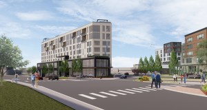 A narrow, triangular building planned for the site of a gas station at 3012 Excelsior Blvd. in Minneapolis would have 100 boutique hotel rooms, 20 condominiums and 4,700 square feet of commercial space. (Submitted illustration: ESG Architects)