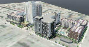 Lennar Multifamily Communities is now seeking city approval for a lower, larger 331-unit project split between 12-story and five-story apartment buildings. To the left is the 20-story, 280-unit Nordhaus built by Lennar in 2017. (Submitted image: ESG Architecture & Design)