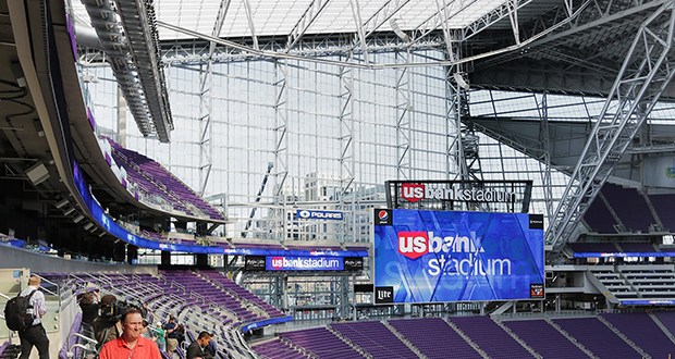 A blackout curtain system at U.S. Bank Stadium needs to block light from coming through the massive glass walls and translucent roof of the 1.7 million-square-foot stadium. The system is a requirement for the venue to host the 2019 NCAA Final Four men's basketball tournament. (File photo: Bill Klotz)