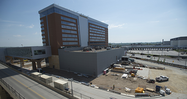 The 291-room Intercontinental Hotel under construction at the Minneapolis-St. Paul International Airport will be outside the airport's security perimeter and is expected to attract passengers and non-travelers. (Photo: Craig Lassig/Special to Finance & Commerce)