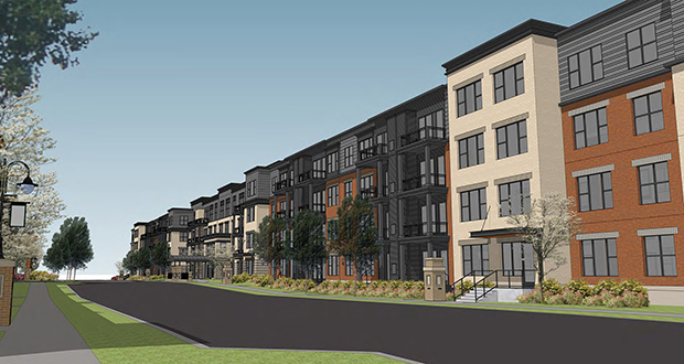 Dominium plans to build an affordable 241-unit senior apartment complex and a 121-unit workforce housing building on the north side of the former Weyerhaeuser Co. property in St. Paul. (Submitted image: BKV Group)