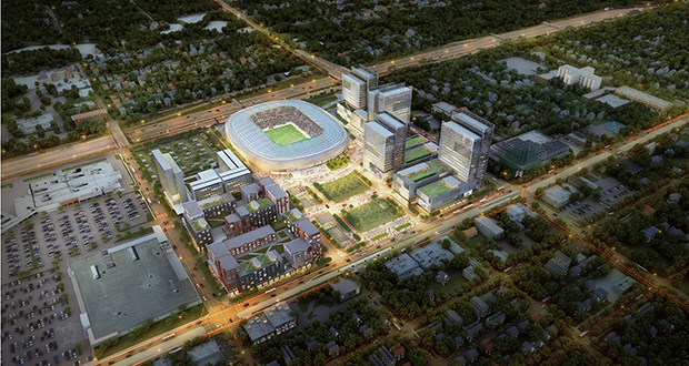 Golden Valley-based Mortenson will lead redevelopment of this site, anchored by the future $250 million Allianz Field. The site is bounded by Interstate 94 to the south, Snelling Avenue to the west and University Avenue to the north. (Submitted rendering)
