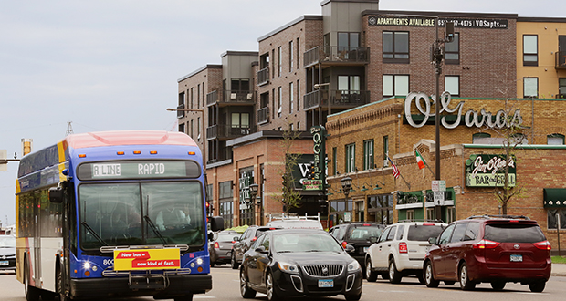 Snelling Avenue in St. Paul is becoming a magnet for apartment developers. Ryan Cos. and Excelsior Group want to redevelop the O'Gara's Bar & Grill site at Selby and Snelling, directly across from the Vintage on Selby and Whole Foods Market they built and sold. (Staff photo: Bill Klotz)