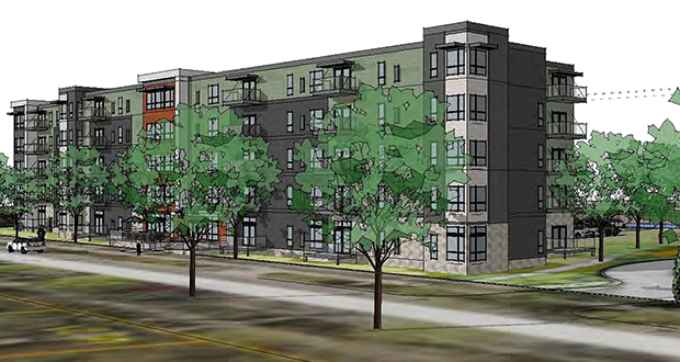 A two-building, affordable housing complex that Lupe Development, The Wall Cos. and Ecumen plan to build at 3601 44th St. E. in Minneapolis has grown from four stories to five since it was first proposed last summer. (Submitted illustration: Pope Architects)