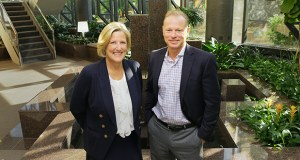 Jerry Baack, Bridgewater Bank's founder, president and CEO, and Chief Operating Officer Mary Jayne Crocker take time out in the lobby of 3800 American Blvd. W. in Bloomington, where Bridgewater is currently headquartered. (Staff photo: Bill Klotz)
