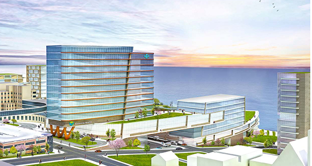 This is a conceptual rendering of Essentia Health's rebuilt campus in downtown Duluth, Minnesota, which would be anchored by a new St. Mary's Medical Center. Essentia is planning more than $800 million in new construction and renovations by 2022. (Submitted image: Essentia Health)