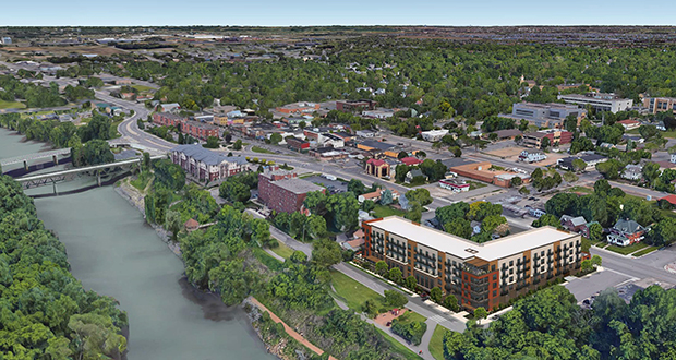 Gaughan Cos. wants to build 126 apartments and a restaurant in a five-story building at the northeast corner of Scott Street North and First Avenue West in Shakopee. (Submitted image: Momentum Design Group)