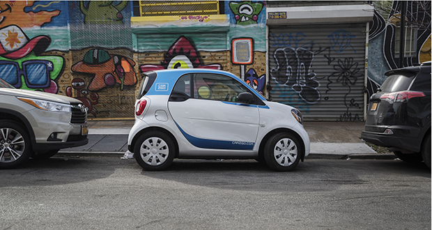Among automakers' programs that provide cars as a service, Daimler's Car2Go, seen here in Brooklyn, is a rare standout with mostly positive reviews. (Bloomberg file photo)