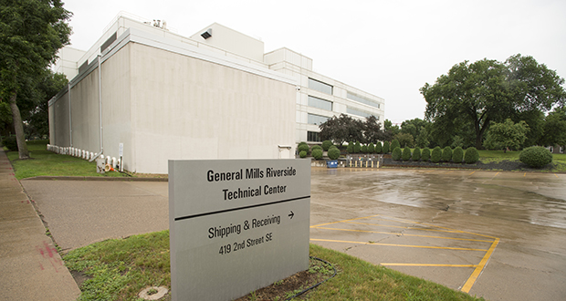 The General Mills Riverside Technical Center at 330 University Ave. SE will be razed to make room for future phases of the Expo apartments. Developers Doran Cos. and CSM Corp. are considering a variety of building configurations for the site. (Photo: Craig Lassig/Special to Finance & Commerce)