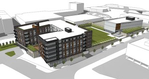 Frauenshuh would build the 143-unit Grandview Residences, the parking garage and the green space in a first phase, with Edina's civic building to follow within three to five years. (Submitted image: DJR Architecture)