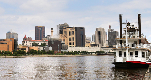The St. Paul City Council approved a resolution last week calling for a number of strategies to improve housing affordability for the city's renters. This photo of downtown St. Paul was taken at Harriet Island. (Staff photo: Bill Klotz)