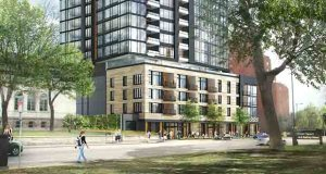 The 40-story 200 Central condominium development Alatus LLC plans to build in northeast Minneapolis will likely be one of a number of residential towers in northeast Minneapolis and the St. Anthony Main neighborhood. (Submitted illustration: Alatus LLC)