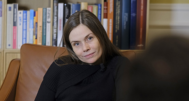 Katrin Jakobsdottir, Iceland's prime minister, pauses during a Jan. 26 interview at her office in Reykjavik. The 42-year-old prime minister, who heads the Left-Green Movement, is considering restrictions on land ownership. Her government is responding to growing complaints from farmers, many of whom resent the superior purchasing power of foreigner buyers. (Bloomberg file photo)