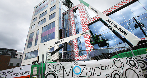 Co-working space provider WeWork will lease more than half the space in the MoZaic East building now under construction at 1330 Lagoon Ave. in the Uptown neighborhood of Minneapolis. (Staff photo: Bill Klotz)