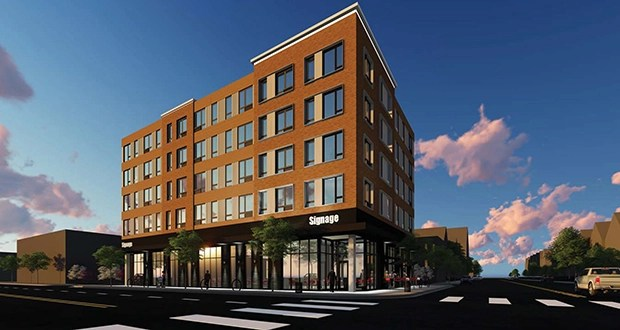 North Bay Cos.' proposed apartment complex at 809 Lake St. E. in Minneapolis will offer only studio units. North Bay made that choice to keep monthly rent low, according to a project narrative. (Submitted illustration: DJR Architecture)