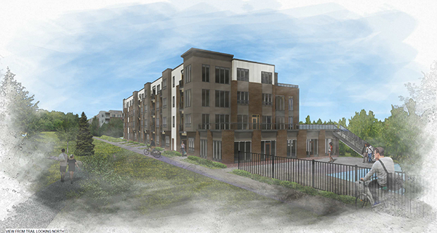 North Shore Development Partners proposes a 61-unit apartment building at 3601 Phillips Parkway in St. Louis Park, the second phase of the Urban Park complex. (Submitted illustration: Kaas Wilson Architects)