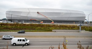 Allianz Field is about 70 percent complete and expected to open in February. The $250 million stadium in St. Paul's Midway neighborhood will be the new home of the Minnesota United FC soccer team. (File photo: Craig Lassig/Special to Finance & Commerce)