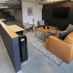 The lounging area of the Bike Lounge.