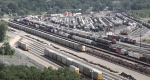 About 5 percent of the nation's freight rail traffic is estimated to pass through east St. Paul every day, including at this rail yard south of Highway 61 and Warner Road. The Ramsey County Regional Railroad Authority is advancing a plan to ease congestion and bottlenecks for trains passing through the area. (File photo: Bill Klotz)