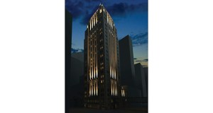 An illustration of the proposed lighting plan for the Rand Tower, at 527 Marquette Ave. S. in downtown Minneapolis, shows illumination to accentuate the Art Deco architecture. The owner plans to convert the office building into a hotel. (Submitted illustration: ESG Architects)
