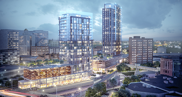 The Bloom Riverfront Towers project in downtown Rochester, Minnesota, is one of several projects to receive substantial TIF funds from the city and the Destination Medical Center Corp. Some Rochester officials are worried that TIF districts are artificially inflating property values in the downtown. (Submitted image: Bloom International Realty)