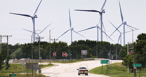 The Grand Meadows Wind Farm south of Rochester, shown in a June photo, is one of many wind and solar renewable energy developments built in the past several years in Minnesota. Renewable energy employment grew 16.5 percent in the state from 2016 to 2017, according to Clean Energy Economy Minnesota. (File photo: Bill Klotz)