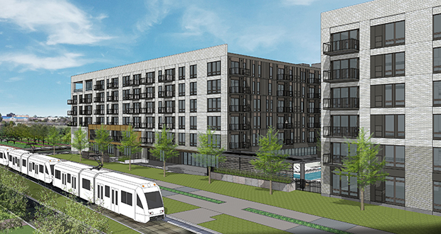 Roseville-based McGough plans to create an opportunity fund under the 2017 federal tax reform law for its 402-unit mixed-income apartment building planned at the Blue Line's Bloomington Central Station in Bloomington.  (Submitted image: ESG Architects)