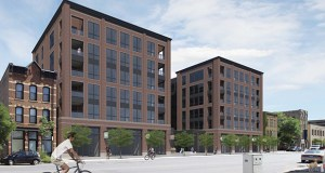 Solhem Cos. plans to build 196 apartments at 102-120 First St. N. in the North Loop in Minneapolis. Two other developers have proposed projects at the site in the past 18 months. (Submitted illustration: Momentum Design Group)