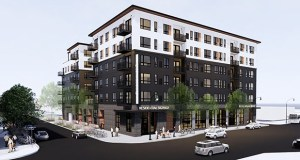 After meeting with neighbors, Lupe Development Partners revised its plan for a workforce apartment project at Lake Street and Harriet Avenue in Minneapolis to include street-level retail and other desired amenities. (Submitted image: ESG Architects)