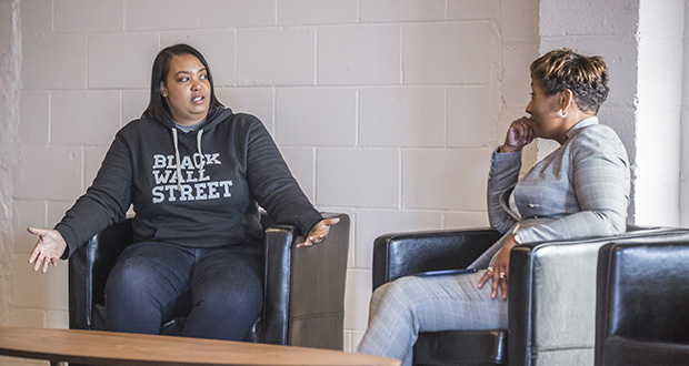 Backstage Capital founder Arlan Hamilton, left, converses Tuesday with Tawanna Black, founder of the Center for Economic Inclusion, during an event in St. Paul that drew 200 people. (Submitted photo: Alex Carroll Photography)