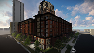 Doran Cos. and CSM Corp. plan to build a 30-story tower and up to 800 apartments on 6.18 acres of property at 311 Second St. SE and 215 Fifth Ave. SE in Minneapolis – which is next to the 25-story, 368-unit Expo apartments the developers have under construction. (Submitted illustration: Doran Cos./CSM Corp.)