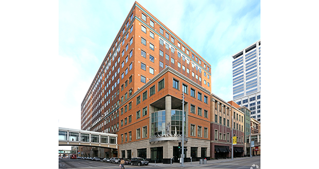 Germany-based Union Investments sold the Target Plaza III building at 950 Nicollet Mall in downtown Minneapolis to Menlo Park, California-based Menlo Equities. Minneapolis-based Target Corp. leases most of the space in the building. (Submitted photo: CoStar)