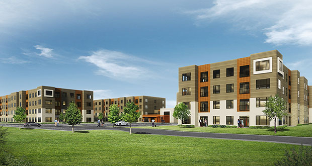 St. Paul-based Real Estate Equities plans to build 184 affordable apartments in the southwest quadrant of Highways 47 and 610 in Coon Rapids. The City Council last week approved a TIF plan for the project. (Submitted image: Kaas Wilson Architectects)