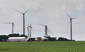 Minnesota is eighth in the nation in net generation from wind energy, and the state currently gets about 18 percent of its power from the wind. This photo shows the Grand Meadow Wind Farm, which is about 20 miles south of Rochester, Minnesota. (File photo: Bill Klotz)