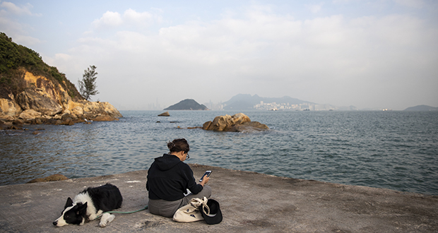 Hong Kong plans to build four artificial islands to create more space for housing. In this photo, a woman uses a smartphone Dec. 27 while sitting with a dog at the shoreline of Peng Chau Island in Hong Kong. (Bloomberg photo: Justin Chin)