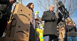 New York City Councilman Jimmy Van Bramer, center, speaks during a conference Thursday in Gordon Triangle Park in the Queens borough of New York, after Amazon's announcement it would abandon its proposed headquarters for the area. Van Bramer and other members of the City Council had tried unsuccessfully to get Amazon officials to agree to remain neutral in the face of any potential union drive. Van Bramer said on NY1 that he believes Amazon feared the possibility of a successful union drive in New York. (AP Photo: Bebeto Matthews)