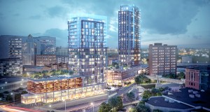Two glass towers proposed on the Rochester, Minnesota, riverfront will not proceed after developer Bloom International Realty backed out of a purchase agreement for the property. Local officials want to collaborate on a new vision for the property, considered one of the best redevelopment sites in Rochester. (Submitted rendering)